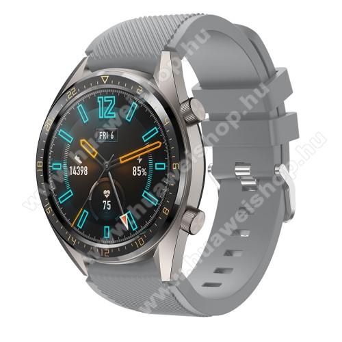 HUAWEI Watch GT 2 46mmOkosóra szíj - szilikon, Twill mintás - SZÜRKE - 93mm + 105mm hosszú, 22mm széles - HUAWEI Watch GT / HUAWEI Watch 2 Pro / Honor Watch Magic / HUAWEI Watch GT 2 46mm