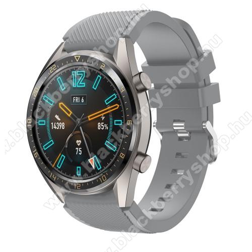 Okosóra szíj - szilikon, Twill mintás - SZÜRKE - 93mm + 105mm hosszú, 22mm széles - HUAWEI Watch GT / HUAWEI Watch 2 Pro / Honor Watch Magic / HUAWEI Watch GT 2 46mm