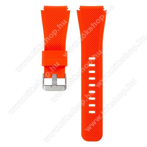 Xiaomi Watch ColorOkosóra szíj - szilikon, Twill mintás - VÉRNARANCS - szilikon, 110mm + 60mm hosszú, 22mm széles - SAMSUNG Galaxy Watch 46mm / SAMSUNG Gear S3 Classic / SAMSUNG Gear S3 Frontier