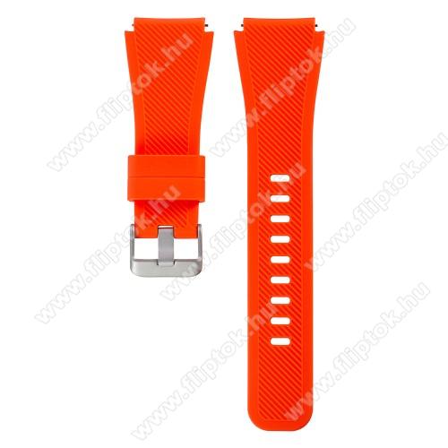 ZTE Watch GTOkosóra szíj - szilikon, Twill mintás - VÉRNARANCS - szilikon, 110mm + 60mm hosszú, 22mm széles - SAMSUNG Galaxy Watch 46mm / SAMSUNG Gear S3 Classic / SAMSUNG Gear S3 Frontier