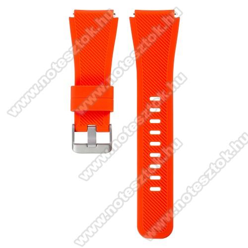Xiaomi Mi Watch (FOR GLOBAL MARKET)Okosóra szíj - szilikon, Twill mintás - VÉRNARANCS - szilikon, 110mm + 60mm hosszú, 22mm széles - SAMSUNG Galaxy Watch 46mm / SAMSUNG Gear S3 Classic / SAMSUNG Gear S3 Frontier