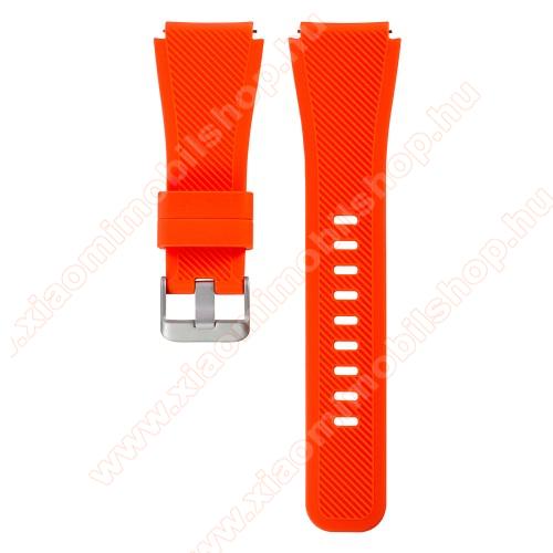 Xiaomi Amazfit GTR 2 47mmOkosóra szíj - szilikon, Twill mintás - VÉRNARANCS - szilikon, 110mm + 60mm hosszú, 22mm széles - SAMSUNG Galaxy Watch 46mm / SAMSUNG Gear S3 Classic / SAMSUNG Gear S3 Frontier