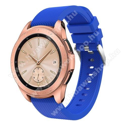 HUAWEI Watch GT 2 42mmOkosóra szíj - szilikon, Twill mintás - VILÁGOSKÉK - 102mm + 80mm hosszú, 18mm széles, max 225mm-es csuklóra - SAMSUNG Galaxy Watch 42mm / HUAWEI Watch GT 2 42mm