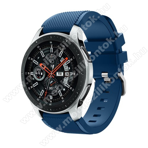 Okosóra szíj - szilikon, Twill mintás - VILÁGOSKÉK - 103mm + 92mm hosszú, 20mm széles, max 215mm-es csuklóra - SAMSUNG Galaxy Watch 46mm / SAMSUNG Gear S3 Classic / SAMSUNG Gear S3 Frontier