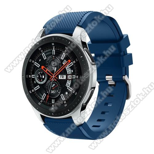 WOTCHI Smartwatch WT35BLLOkosóra szíj - szilikon, Twill mintás - VILÁGOSKÉK - 103mm + 92mm hosszú, 22mm széles, max 215mm-es csuklóra - SAMSUNG Galaxy Watch 46mm / SAMSUNG Gear S3 Classic / SAMSUNG Gear S3 Frontier