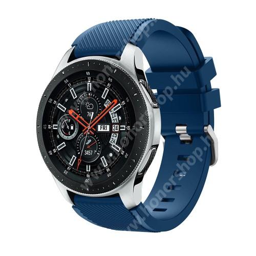 HUAWEI Watch 2 Pro Okosóra szíj - szilikon, Twill mintás - VILÁGOSKÉK - 103mm + 92mm hosszú, 22mm széles, max 215mm-es csuklóra - SAMSUNG Galaxy Watch 46mm / SAMSUNG Gear S3 Classic / SAMSUNG Gear S3 Frontier