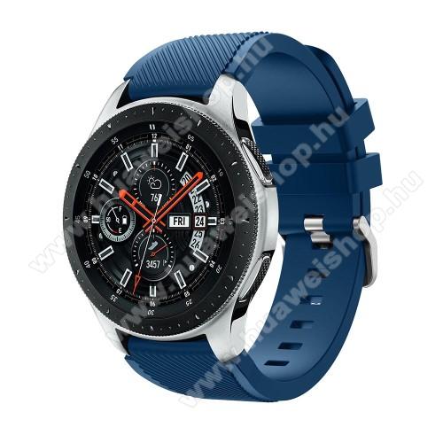 HUAWEI Watch 2 ProOkosóra szíj - szilikon, Twill mintás - VILÁGOSKÉK - 103mm + 92mm hosszú, 22mm széles, max 215mm-es csuklóra - SAMSUNG Galaxy Watch 46mm / SAMSUNG Gear S3 Classic / SAMSUNG Gear S3 Frontier