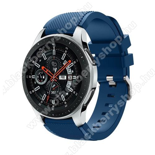 Okosóra szíj - szilikon, Twill mintás - VILÁGOSKÉK - 103mm + 92mm hosszú, 22mm széles, max 215mm-es csuklóra - SAMSUNG Galaxy Watch 46mm / SAMSUNG Gear S3 Classic / SAMSUNG Gear S3 Frontier