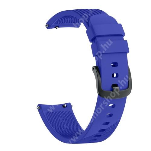 HUAWEI Honor MagicWatch 2 42mm Okosóra szíj - szilikon, Twill mintás - VILÁGOSKÉK - S-es méret, 92mm + 80mm hosszú, 20mm széles - SAMSUNG Galaxy Watch 42mm / Xiaomi Amazfit GTS / SAMSUNG Gear S2 / HUAWEI Watch GT 2 42mm / Galaxy Watch Active / Active 2
