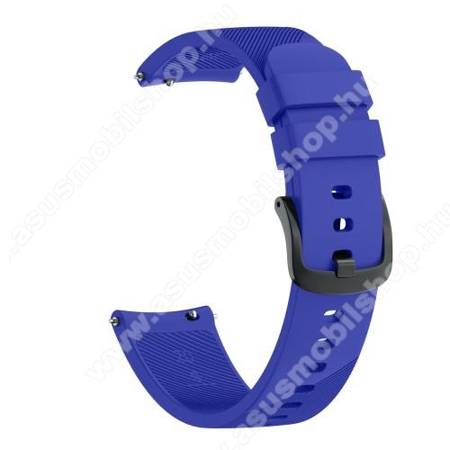 Okosóra szíj - szilikon, Twill mintás - VILÁGOSKÉK - S-es méret, 92mm + 80mm hosszú, 20mm széles - SAMSUNG Galaxy Watch 42mm / Xiaomi Amazfit GTS / HUAWEI Watch GT / SAMSUNG Gear S2 / HUAWEI Watch GT 2 42mm / Galaxy Watch Active / Active  2 / Galaxy Gear