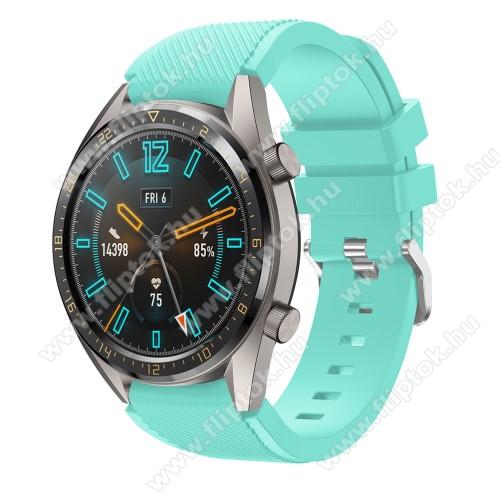 ZTE Watch GTOkosóra szíj - szilikon, Twill mintás - VILÁGOSKÉK - 93mm + 105mm hosszú, 22mm széles - HUAWEI Watch GT / HUAWEI Watch 2 Pro / Honor Watch Magic / HUAWEI Watch GT 2 46mm
