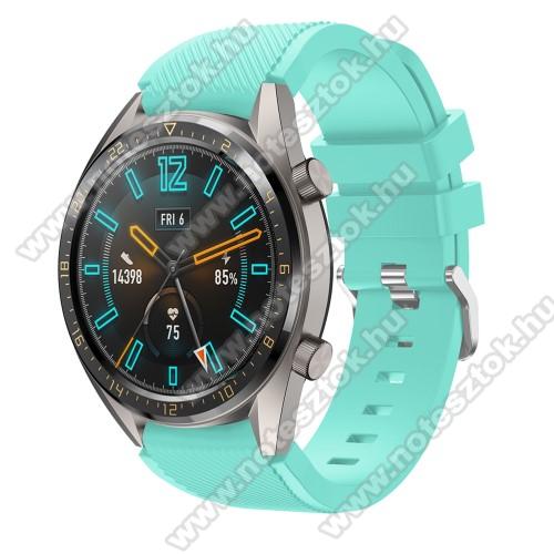 Xiaomi Mi Watch (FOR GLOBAL MARKET)Okosóra szíj - szilikon, Twill mintás - VILÁGOSKÉK - 93mm + 105mm hosszú, 22mm széles - HUAWEI Watch GT / HUAWEI Watch 2 Pro / Honor Watch Magic / HUAWEI Watch GT 2 46mm