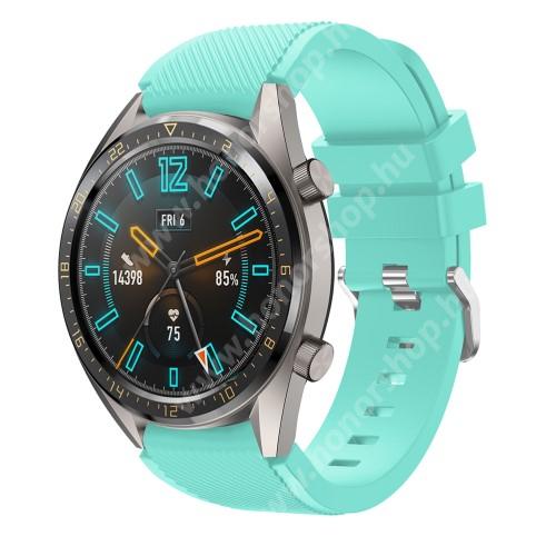 HUAWEI Honor MagicWatch 2 46mm Okosóra szíj - szilikon, Twill mintás - VILÁGOSKÉK - 93mm + 105mm hosszú, 22mm széles - HUAWEI Watch GT / HUAWEI Watch 2 Pro / Honor Watch Magic / HUAWEI Watch GT 2 46mm