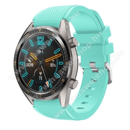 HUAWEI Watch GT 46mmOkosóra szíj - szilikon, Twill mintás - VILÁGOSKÉK - 93mm + 105mm hosszú, 22mm széles - HUAWEI Watch GT / HUAWEI Watch 2 Pro / Honor Watch Magic / HUAWEI Watch GT 2 46mm