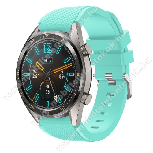 Xiaomi Watch ColorOkosóra szíj - szilikon, Twill mintás - VILÁGOSKÉK - 93mm + 105mm hosszú, 22mm széles - HUAWEI Watch GT / HUAWEI Watch 2 Pro / Honor Watch Magic / HUAWEI Watch GT 2 46mm