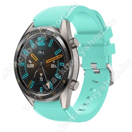 Okosóra szíj - szilikon, Twill mintás - VILÁGOSKÉK - 93mm + 105mm hosszú, 22mm széles - HUAWEI Watch GT / HUAWEI Watch 2 Pro / Honor Watch Magic / HUAWEI Watch GT 2 46mm