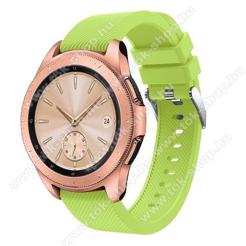 Okosóra szíj - szilikon, Twill mintás - ZÖLD - 102mm + 80mm hosszú, 20mm széles, max 225mm-es csuklóra - SAMSUNG Galaxy Watch 42mm / HUAWEI Watch GT 2 42mm
