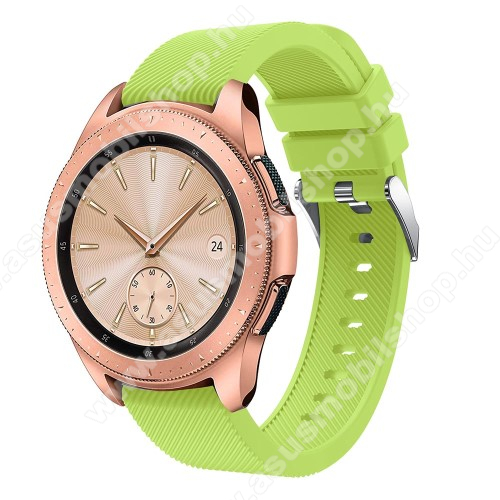 Okosóra szíj - szilikon, Twill mintás - ZÖLD - 102mm + 80mm hosszú, 20mm széles, max 225mm-es csuklóra - SAMSUNG Galaxy Watch 42mm / Xiaomi Amazfit GTS / SAMSUNG Gear S2 / HUAWEI Watch GT 2 42mm / Galaxy Watch Active / Active 2
