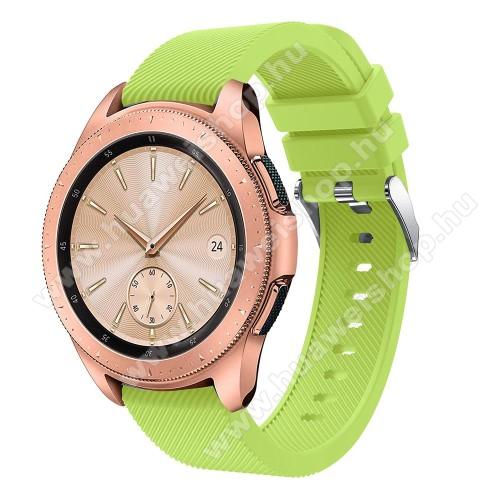 HUAWEI Watch GT 2 42mmOkosóra szíj - szilikon, Twill mintás - ZÖLD - 102mm + 80mm hosszú, 18mm széles, max 225mm-es csuklóra - SAMSUNG Galaxy Watch 42mm / HUAWEI Watch GT 2 42mm