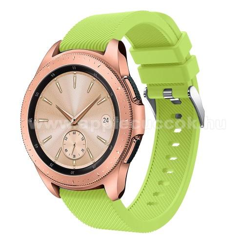Okosóra szíj - szilikon, Twill mintás - ZÖLD - 102mm + 80mm hosszú, 18mm széles, max 225mm-es csuklóra - SAMSUNG Galaxy Watch 42mm / HUAWEI Watch GT 2 42mm