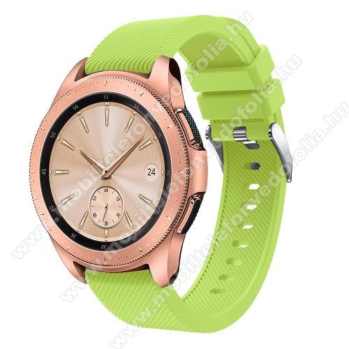 Garmin VenuOkosóra szíj - szilikon, Twill mintás - ZÖLD - 102mm + 80mm hosszú, 20mm széles, max 225mm-es csuklóra - SAMSUNG Galaxy Watch 42mm / Xiaomi Amazfit GTS / SAMSUNG Gear S2 / HUAWEI Watch GT 2 42mm / Galaxy Watch Active / Active 2