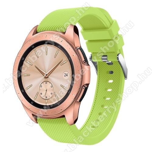 Okosóra szíj - szilikon, Twill mintás - ZÖLD - 102mm + 80mm hosszú, 20mm széles, max 225mm-es csuklóra - SAMSUNG Galaxy Watch 42mm / Xiaomi Amazfit GTS / HUAWEI Watch GT / SAMSUNG Gear S2 / HUAWEI Watch GT 2 42mm / Galaxy Watch Active / Active  2 / Galaxy
