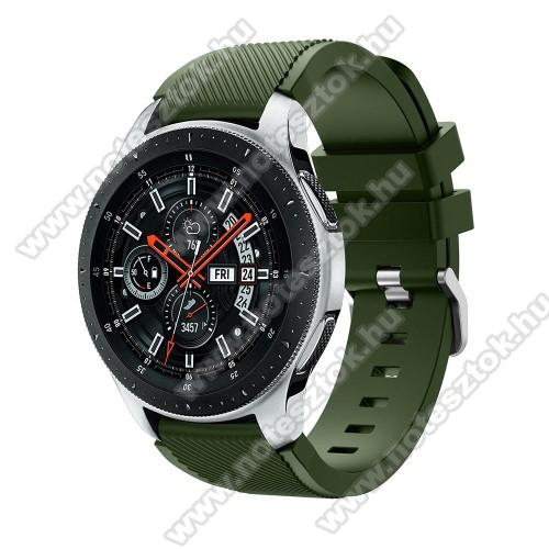 WOTCHI Smartwatch WT35BLLOkosóra szíj - szilikon, Twill mintás - ZÖLD - 103mm + 92mm hosszú, 22mm széles, max 215mm-es csuklóra - SAMSUNG Galaxy Watch 46mm / SAMSUNG Gear S3 Classic / SAMSUNG Gear S3 Frontier