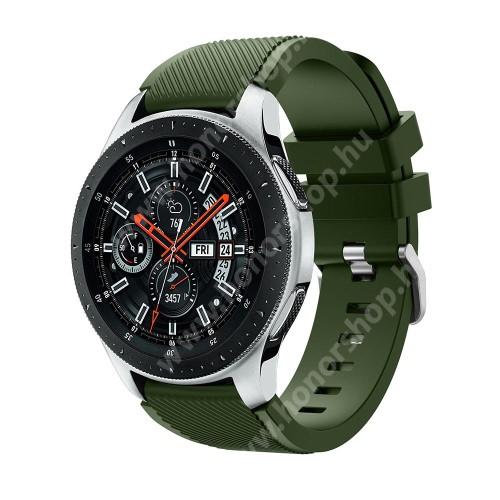 HUAWEI Watch 2 Pro Okosóra szíj - szilikon, Twill mintás - ZÖLD - 103mm + 92mm hosszú, 22mm széles, max 215mm-es csuklóra - SAMSUNG Galaxy Watch 46mm / SAMSUNG Gear S3 Classic / SAMSUNG Gear S3 Frontier