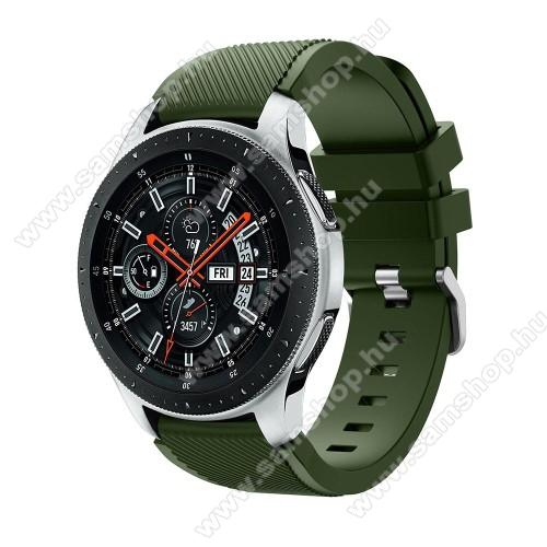 SAMSUNG SM-R380 Gear 2Okosóra szíj - szilikon, Twill mintás - ZÖLD - 103mm + 92mm hosszú, 22mm széles, max 215mm-es csuklóra - SAMSUNG Galaxy Watch 46mm / SAMSUNG Gear S3 Classic / SAMSUNG Gear S3 Frontier