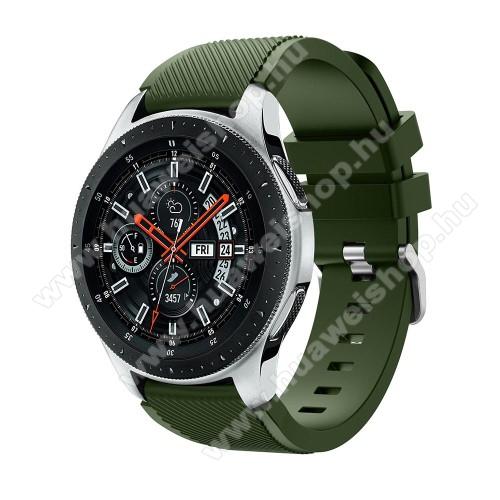 HUAWEI Watch 2 ProOkosóra szíj - szilikon, Twill mintás - ZÖLD - 103mm + 92mm hosszú, 22mm széles, max 215mm-es csuklóra - SAMSUNG Galaxy Watch 46mm / SAMSUNG Gear S3 Classic / SAMSUNG Gear S3 Frontier