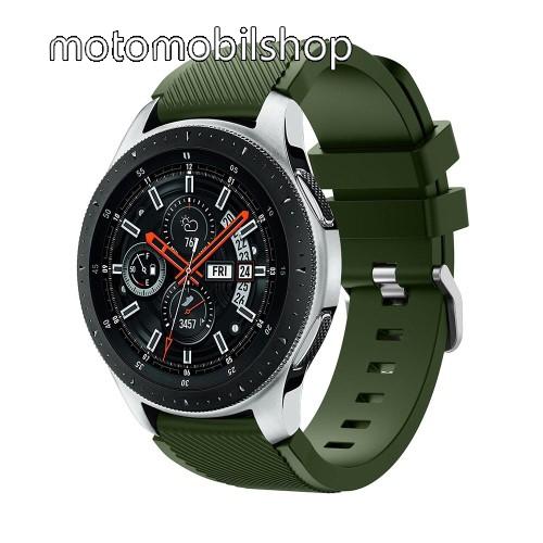 Okosóra szíj - szilikon, Twill mintás - ZÖLD - 103mm + 92mm hosszú, 22mm széles, max 215mm-es csuklóra - SAMSUNG Galaxy Watch 46mm / SAMSUNG Gear S3 Classic / SAMSUNG Gear S3 Frontier