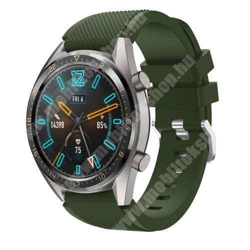 Okosóra szíj - szilikon, Twill mintás - ZÖLD - HUAWEI Watch GT / HUAWEI Honor Watch Magic / HUAWEI Watch 2 Pro