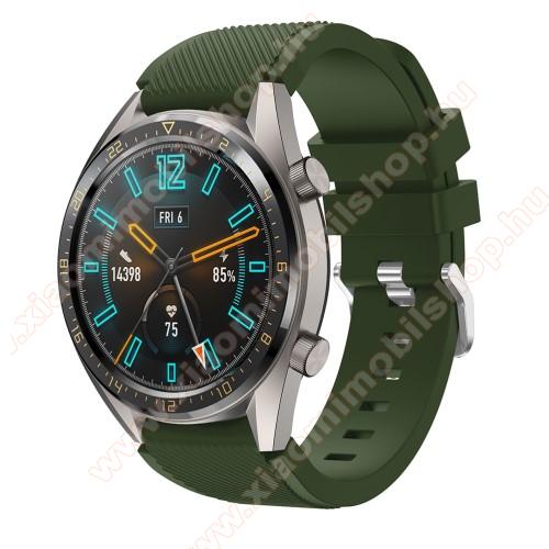 Xiaomi AmazfitOkosóra szíj - szilikon, Twill mintás - ZÖLD - 93mm + 105mm hosszú, 22mm széles - HUAWEI Watch GT / HUAWEI Watch 2 Pro / Honor Watch Magic / HUAWEI Watch GT 2 46mm
