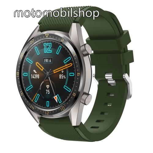 Okosóra szíj - szilikon, Twill mintás - ZÖLD - 93mm + 105mm hosszú, 22mm széles - HUAWEI Watch GT / HUAWEI Watch 2 Pro / Honor Watch Magic / HUAWEI Watch GT 2 46mm