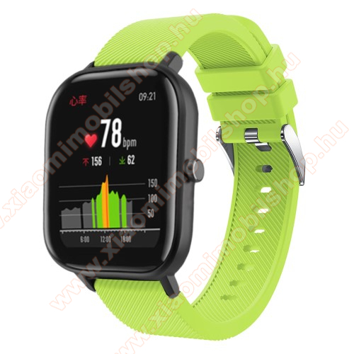 Huami Amazfit Youth Edition LiteOkosóra szíj - szilikon, Twill mintás - ZÖLD - 20mm széles, 130mm+95mm hosszú, 170-225mm átmérőjű csuklóméretig - SAMSUNG Galaxy Watch 42mm / Xiaomi Amazfit GTS / SAMSUNG Gear S2 / HUAWEI Watch GT 2 42mm / Galaxy Watch Active / Active 2