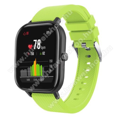 HUAWEI Honor MagicWatch 2 42mmOkosóra szíj - szilikon, Twill mintás - ZÖLD - 20mm széles, 130mm+95mm hosszú, 170-225mm átmérőjű csuklóméretig - SAMSUNG Galaxy Watch 42mm / Xiaomi Amazfit GTS / SAMSUNG Gear S2 / HUAWEI Watch GT 2 42mm / Galaxy Watch Active / Active 2