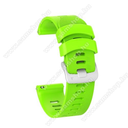 Okosóra szíj - szilikon, Twill mintás - ZÖLD - 115mm+85mm hosszú, 20mm széles, 150mm-től 210mm-es méretű csuklóig ajánlott - SAMSUNG Galaxy Watch 42mm / Amazfit GTS / Garmin Forerunner 245 / HUAWEI Watch GT 2 42mm / Galaxy Watch Active / Active 2