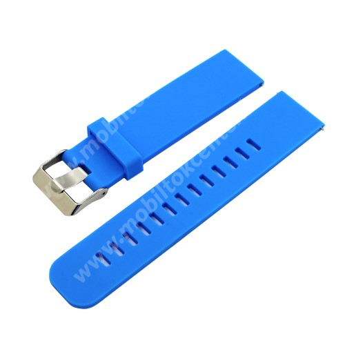 Okosóra szíj - szilikon - VILÁGOSKÉK - 18mm széles - HUAWEI TalkBand B5 / Xiaomi Mi Watch (For China Market) / Fossil Gen 4 / Garmin Vivoactive 4s/ Fossil Q Tailor
