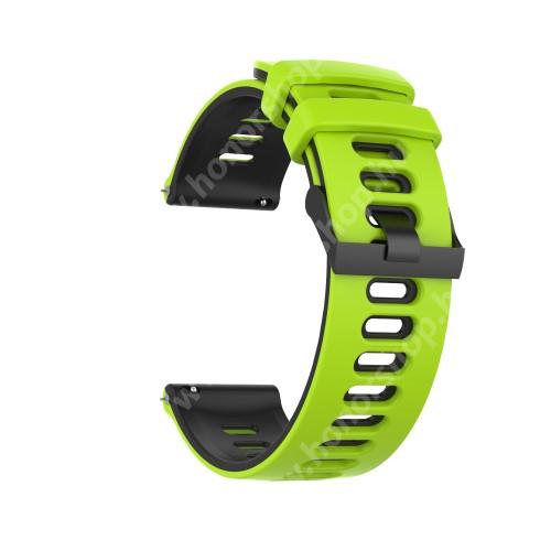 Okosóra szíj - szilikon - ZÖLD / FEKETE - 125mm + 87mm hosszú, 22mm széles, 135-235mm átmérőjű csuklóméretig - SAMSUNG Galaxy Watch 46mm / Watch GT2 46mm / Watch GT 2e / Galaxy Watch3 45mm / Honor MagicWatch 2 46mm
