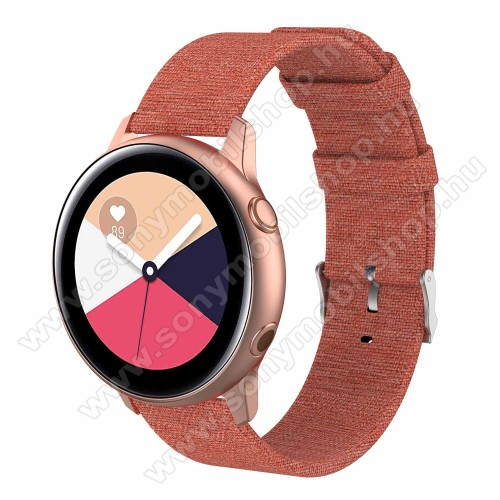 Okosóra szíj - szövet, 100mm + 85mm hosszú, 20mm széles - NARANCS - SAMSUNG Galaxy Watch 42mm / Xiaomi Amazfit GTS / SAMSUNG Gear S2 / HUAWEI Watch GT 2 42mm / Galaxy Watch Active / Active 2