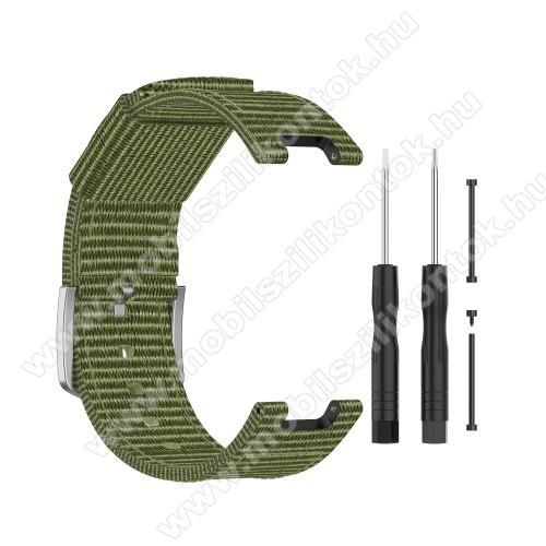 Okosóra szíj - szövet, 118mm + 88mm hosszú - SÖTÉTZÖLD - Xiaomi Amazfit T-Rex