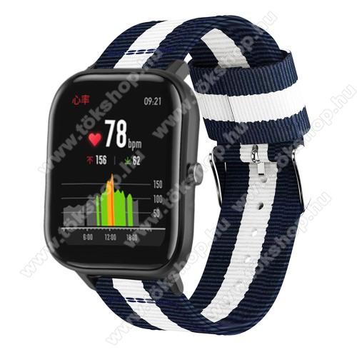 Okosóra szíj - szövet, 20mm széles, 86+125mm hosszú - KÉK / FEHÉR - SAMSUNG Galaxy Watch 42mm / Xiaomi Amazfit GTS / SAMSUNG Gear S2 / HUAWEI Watch GT 2 42mm / Galaxy Watch Active / Active 2