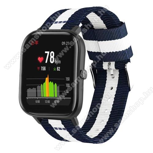 SAMSUNG SM-R600 Galaxy Gear SportOkosóra szíj - szövet, 20mm széles, 86+125mm hosszú - KÉK / FEHÉR - SAMSUNG Galaxy Watch 42mm / Xiaomi Amazfit GTS / HUAWEI Watch GT / SAMSUNG Gear S2 / HUAWEI Watch GT 2 42mm / Galaxy Watch Active / Active  2 / Galaxy Gear Sport