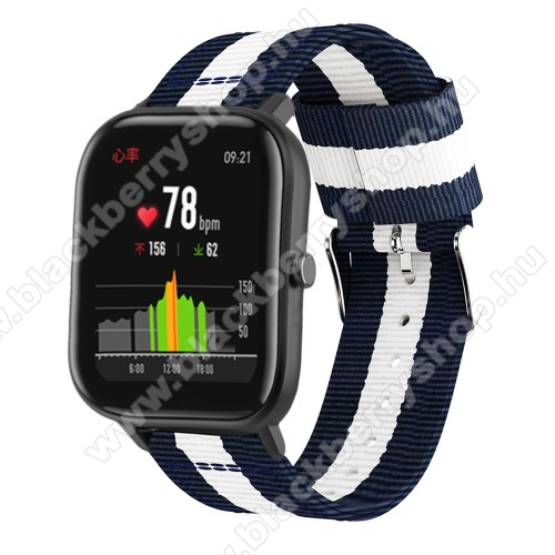 Okosóra szíj - szövet, 20mm széles, 86+125mm hosszú - KÉK / FEHÉR - SAMSUNG Galaxy Watch 42mm / Xiaomi Amazfit GTS / HUAWEI Watch GT / SAMSUNG Gear S2 / HUAWEI Watch GT 2 42mm / Galaxy Watch Active / Active  2 / Galaxy Gear Sport