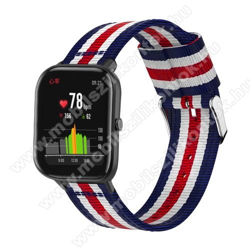 Okosóra szíj - szövet, 20mm széles, 86+125mm hosszú - KÉK / FEHÉR / PIROS - SAMSUNG Galaxy Watch 42mm / Xiaomi Amazfit GTS / SAMSUNG Gear S2 / HUAWEI Watch GT 2 42mm / Galaxy Watch Active / Active 2