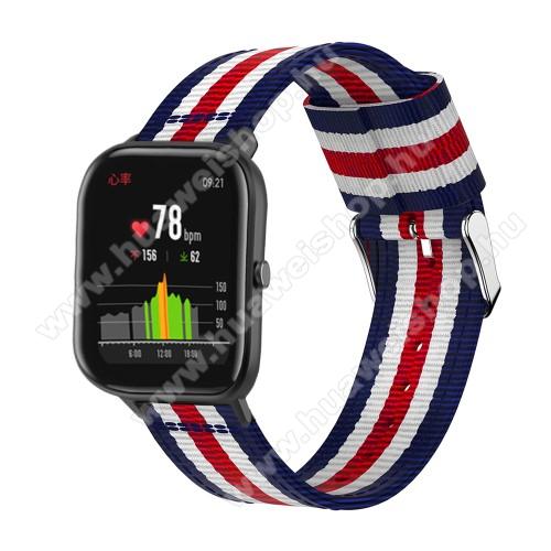 HUAWEI Honor MagicWatch 2 42mmOkosóra szíj - szövet, 20mm széles, 86+125mm hosszú - KÉK / FEHÉR / PIROS - SAMSUNG Galaxy Watch 42mm / Xiaomi Amazfit GTS / SAMSUNG Gear S2 / HUAWEI Watch GT 2 42mm / Galaxy Watch Active / Active 2