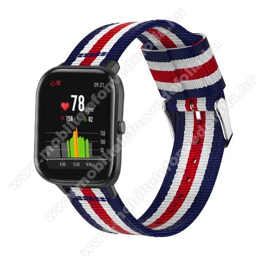 Garmin VenuOkosóra szíj - szövet, 20mm széles, 86+125mm hosszú - KÉK / FEHÉR / PIROS - SAMSUNG Galaxy Watch 42mm / Xiaomi Amazfit GTS / SAMSUNG Gear S2 / HUAWEI Watch GT 2 42mm / Galaxy Watch Active / Active 2