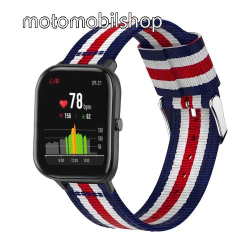 Okosóra szíj - szövet, 20mm széles, 86+125mm hosszú - KÉK / FEHÉR / PIROS - SAMSUNG Galaxy Watch 42mm / Xiaomi Amazfit GTS / HUAWEI Watch GT / SAMSUNG Gear S2 / HUAWEI Watch GT 2 42mm / Galaxy Watch Active / Active  2 / Galaxy Gear Sport