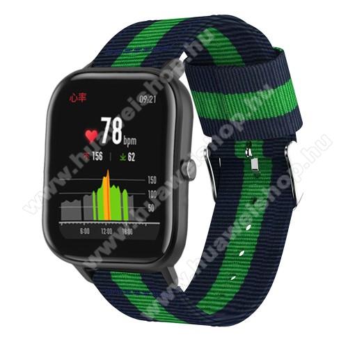 HUAWEI Honor MagicWatch 2 42mmOkosóra szíj - szövet, 20mm széles, 86+125mm hosszú - KÉK / ZÖLD - SAMSUNG Galaxy Watch 42mm / Xiaomi Amazfit GTS / SAMSUNG Gear S2 / HUAWEI Watch GT 2 42mm / Galaxy Watch Active / Active 2