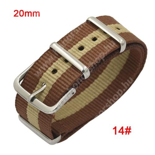 Okosóra szíj - szövet, 20mm széles - BARNA - SAMSUNG SM-R600 Galaxy Gear Sport / SAMSUNG SM-R810NZ Galaxy Watch 42mm / SAMSUNG SM-R720 Gear S2 Classic